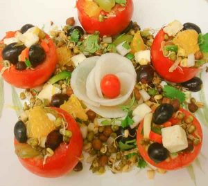 Stuffed Tomato Salad with Sprouts cottage cheese and Chickpeas