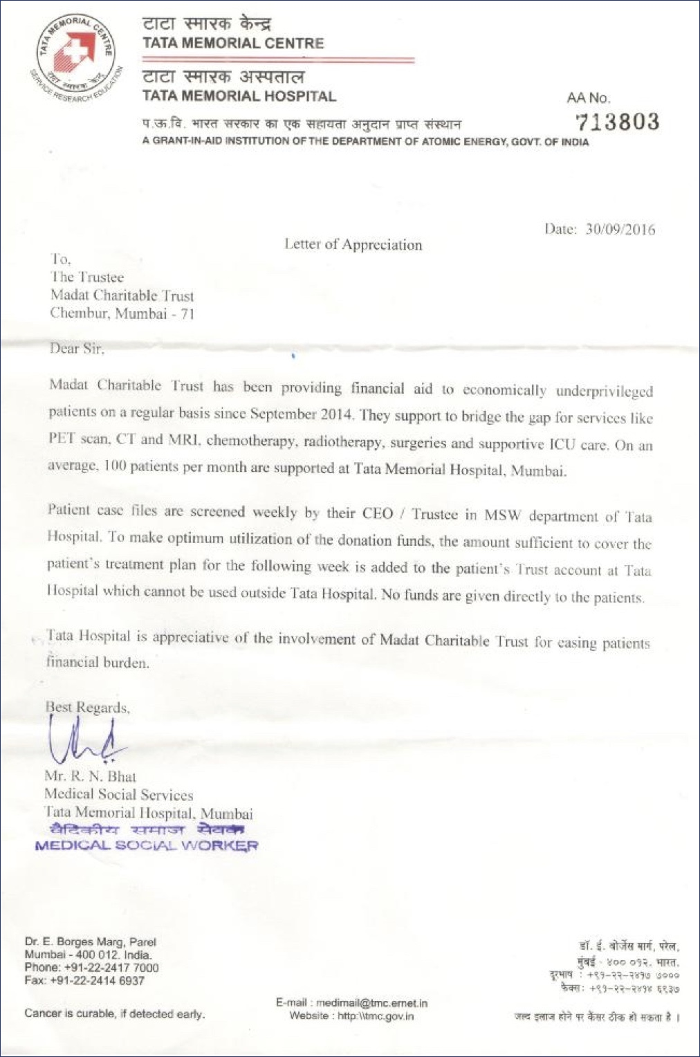Appreciation letter from Tata Memorial Hospital